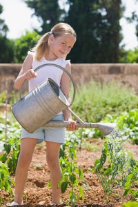 young-girl-watering-plants