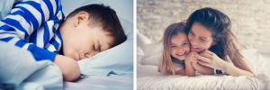 boy-sleeping-having-a-bad-dream-mother-with-daughter-laughing-in-bed